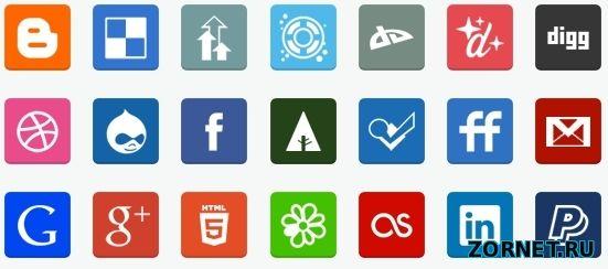 иконок социальных сетей