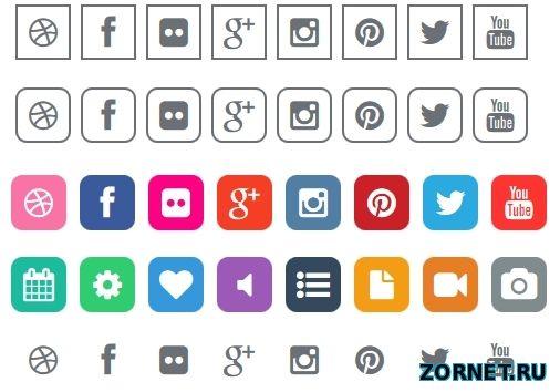 Подборка иконок социальных кнопок