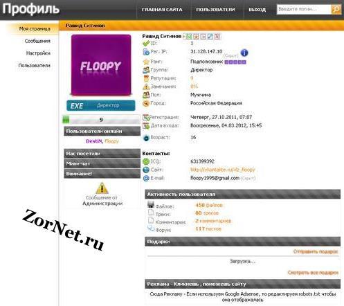 Персональная страница для uCoz как на сайте Zornet.ru