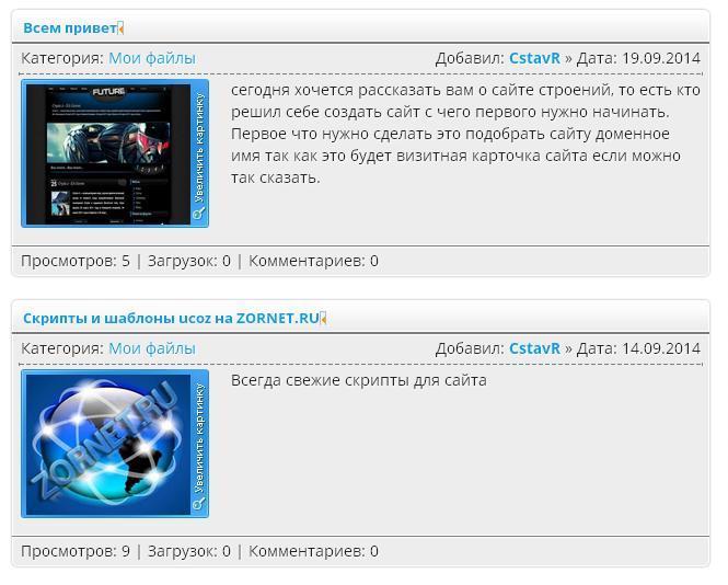 Вид материалов новостей сайта ZORNET.RU