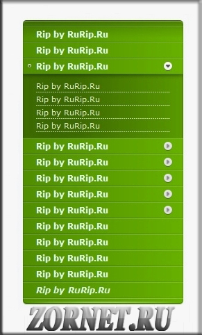 Красивое зеленое меню сайта для ucoz