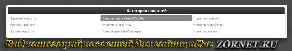 Вид категорий новостей для сайта ucoz