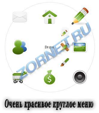 Оригинальное круглое меню сайта ZR
