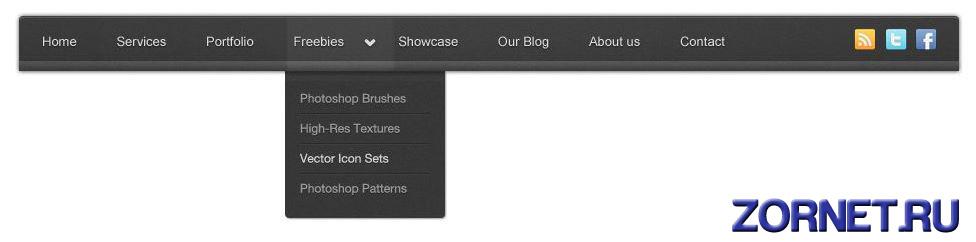Темное горизонтальное меню сайта в PSD