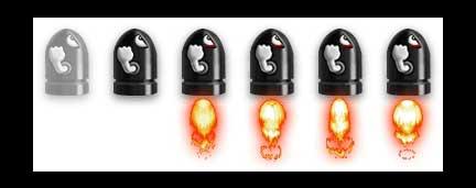 Кнопка наверх ракеты с эффектом огня для сайта