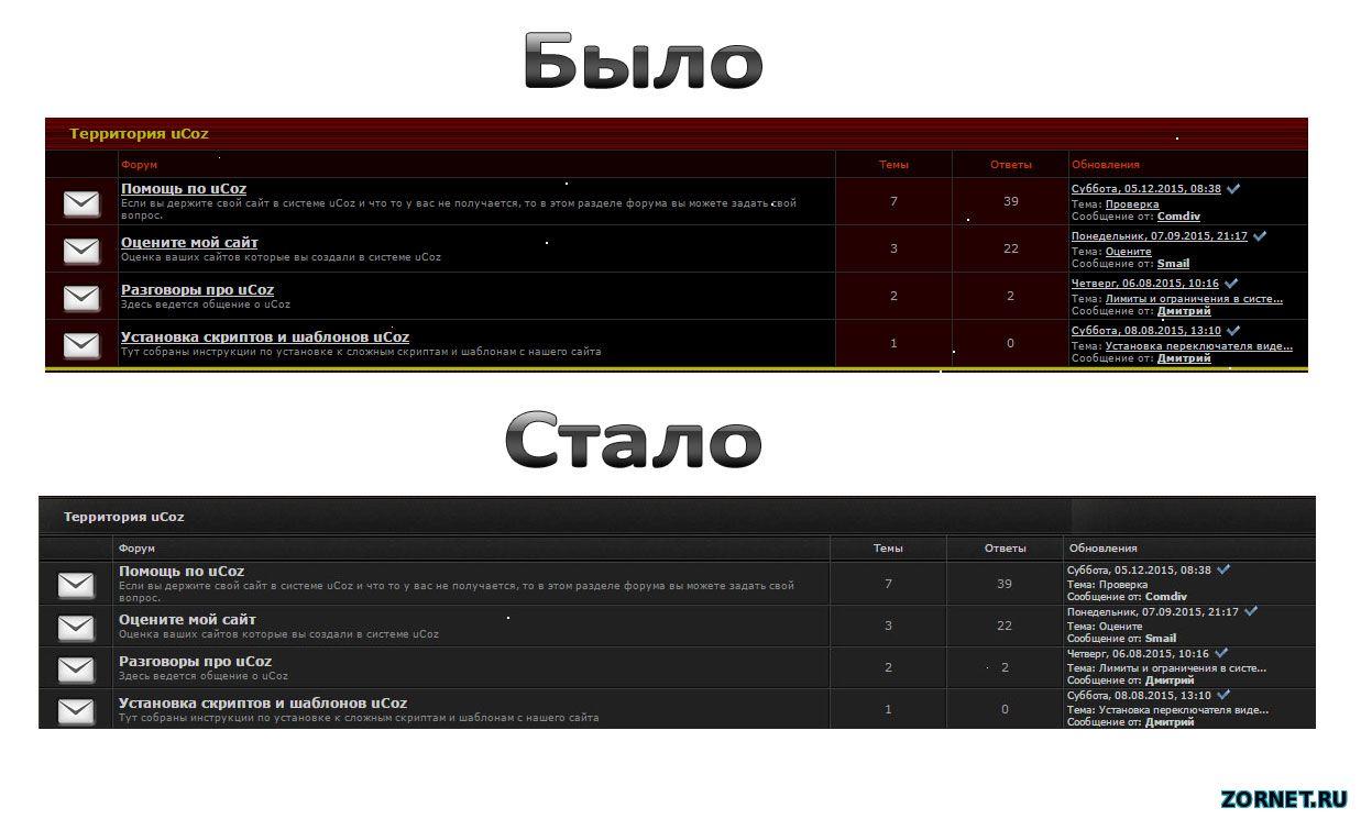 Смена фона и дизайн темного форума uCoz